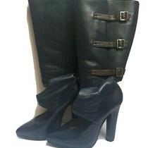 Versace Black Leathet Fashion Booties 37 7 Photo
