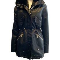 Versace Black Satin Coat Fox Fur Hood Removable Fur Lining Sz 40 Est Ret 5300 Photo