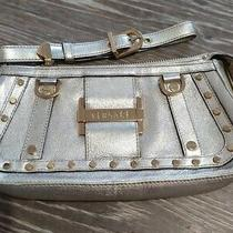 Versace Champagne Gold Clutch Bag Leather Italy Designer Excellent Condition Photo