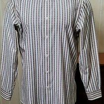 Versace Classic Brown Striped Long Sleeve Button Front Men's Shirt Sz 40 /15 3/4 Photo