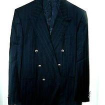Versace Classic V2 Double Breasted Wool Blazer Sport Coat-42 R  Black Pinstripe Photo