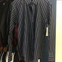 Versace Classic V2 Dress Shirt Button Up Size 17 Large / Xl Navy Blue Stripes Photo