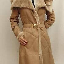 Versace Collection Beige Fur Shearling Lamb Leather Coat Uk10 Photo