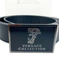 Versace Collection Medusa Plaque Leather Belt in Black Adjustable Size 110 /40 Photo