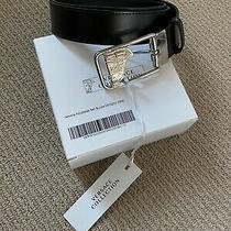 Versace Collection Men's Medusa Steel Buckle Leather Black Belt V91s202 Nwt Photo