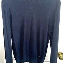 Versace Collection Men's Silk Navy Blue v-Neck Sweater Us Xl Photo