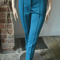Versace Collection Slim Trousers Stretch Pants Teal Blue With Logo 40 S 249 New Photo