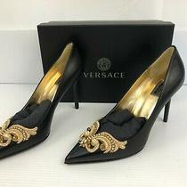Versace Embroidered Baroque Leather Tribute Pumps in Black Us Size-9.5 Photo