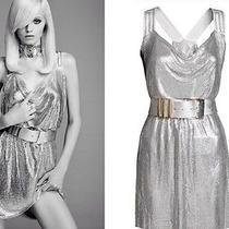 Versace for h&m Silver Mesh Metallic Sequin Dress Size Us 4 Eur 34 Photo
