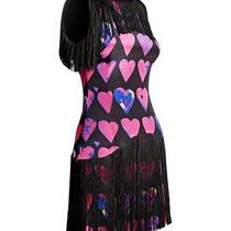 Versace for H & M Size Us 2-Black Fringe Heart Print Silk Dress-Bnwt Photo