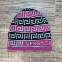 Versace Gray Purple Black Knit Beanie Hat Photo