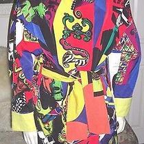 Versace Iconic 1991 Pop Art Collection Vogue Magazine Reversible Raincoat M Photo
