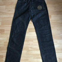 Versace Jeans Couture - Black Distressed Button Fly Straight Jeans - Size 32 Photo