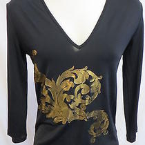 Versace Jeans Couture Black v-Neck Jersey Gold Foil Flourish Design 3/4 Sl M Euc Photo