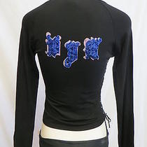 Versace Jeans Couture Black v-Neck Side Lacing Beaded Logo Long Sl Top M Euc Photo