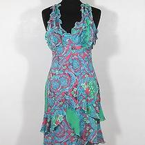 Versace Jeans Couture Italian Authentic Multicolor Silky Frill Dress Size 40 Tv Photo