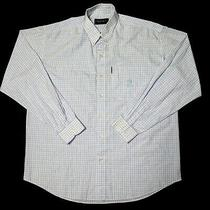 Versace Jeans Couture Mens Large Blue Check Button Down Long Sleeve Shirt Photo