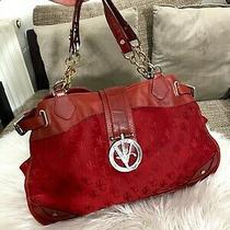 Versace Jeans Couture Vjc Monogram Handbag Canvas Red Leather Rare Vintage  Photo