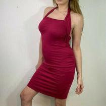 Versace Jeans Dark Pink Bodycon Dress Size 12 14 Party Halter Neck Sexy Stretchy Photo