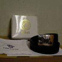 Versace Leather Black Belt Medusa Size 110 Made in Italy New Gold Square Buckle  Photo