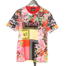 Versace Limited Edition Nwt 850 Red Yellow Orange & Pink Floral Tee Shirt S Photo