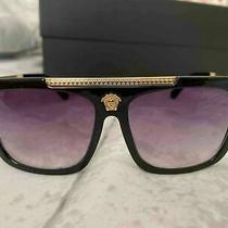 Versace Medusa Face Logo Vintage Unisex Shiny Gold Fashion Sunglasses Photo