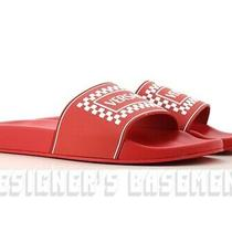 Versace Men 44eu 11us Red 90s Vintage Logo Slides Flip-Flop Sandals Nib Authentc Photo