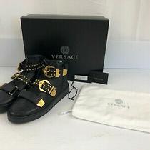 Versace Men's Black Medusa Buckle Studded High-Top Tribute Sneaker Us Size-6/6.5 Photo