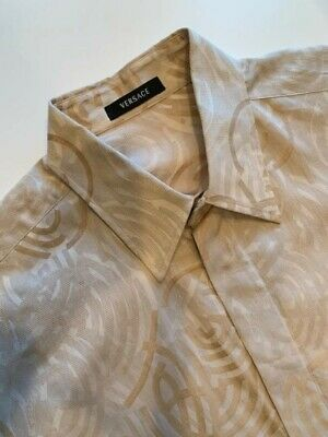 VERSACE men shirt French Cuff Light Tan & Cream Size 52 or L Excellent Photo