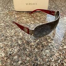 Versace Mod. 2101 Sunglasses Silver Frame Red Gray Gradient Photo