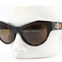 Versace Mod 4253 108/73 Sunglasses Brown Tortoise / Gold Medusa Logo W/case Photo