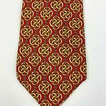 Versace New Mens Red Gold 100% Silk Neck Tie Runway Auth Photo