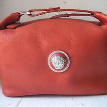 Versace Orange Napa Leather Medusa Cosmetic/wash Bag  Photo