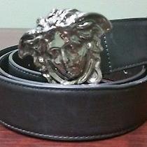 Versace Palazzo Belt With Medusa Buckle Sz 115/46 Black Leather 525 Photo