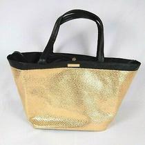Versace Parfums Black Gold Tote Beach/pool Bag Travel Purse Handbag Shopping-New Photo