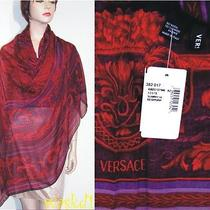 Versace Red Baroque Flowers Cashmere Blend Large 52