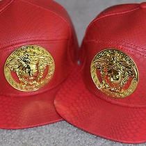 Versace Red Leather Python Snakeskin Medusa Head Snapback Hat - Supreme Tyga Lk Photo