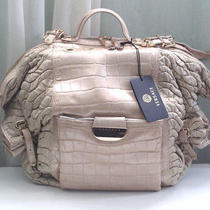 Versace Runway Croco Perforated Leather Beige/nude Oversize Designer Handbag Photo