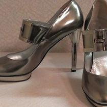 Versace Silver Heels With Mirror Platform Made in Italy 39 (Us 8.5) Photo