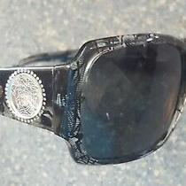 Versace Silver Medusa Head Tortoise Black Sparkling Sunglasses Made in Italy Photo