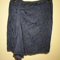 Versace Skirt 2 Tone Denim Blue Waterfall Front Side Split Sparkly Beaded Size34 Photo