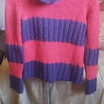 Versace Sport Vintage 1980's - 1990's Red & Purple Turtleneck Sweater  S Euc Photo