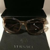 Versace Sunglasses 4345b Tan/gold Frame W/crystals Case & Cloth Pre-Owned. Photo