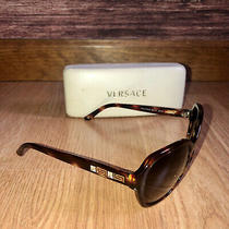 Versace Sunglasses Brown Tortoise Swarovsky Crystal Rhinestones Clamshell Case Photo