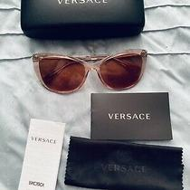 Versace Sunglasses Ve4345b Gb1/11 57mm Brown Cat Eye Authentic Pre Owned Photo