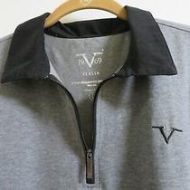 Versace V1969 Italia 100% Cotton Sport Long Sleeve Polo Shirt Gray Mens L  Photo