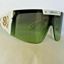 Versace Ve4393 401/87 White Grey /green Gradient Shield Wrap Sunglasses Bnib Photo