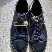 Versace Versus Black Leather Sneakers W/ Gold Safety Pin Size 40 Authentic Women Photo