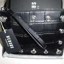 Versace Versus Clutch Bag Woman Leather Croc Black Lion Studs Logo Original Photo