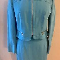 Versace Versus Vintage Blue Suit Outfit Jacket and Skirt Set Size 44 S/m Vgc Photo